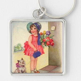 Vintage Birthday Girl Keychain
