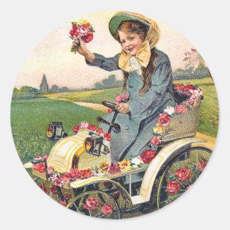 Vintage Birthday Greeting Classic Round Sticker