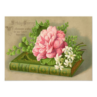 Vintage Birthday Greeting Wishes Floral Classy Card