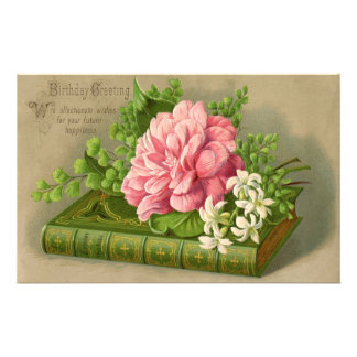 Vintage Birthday Greeting Wishes Floral Classy Stationery