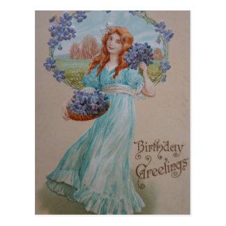 Vintage Birthday Greetings Card From 1909 Postcard