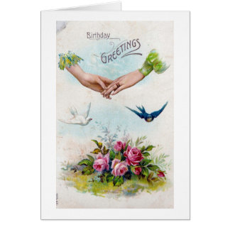 Vintage Birthday Greetings Hands and Birds Card