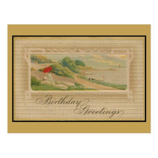 Vintage birthday greetings postcard