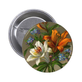 Vintage Birthday Greetings with Lily Flowers 2 Inch Round Button