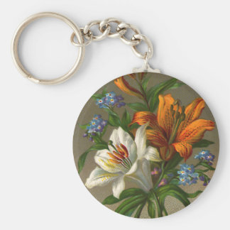 Vintage Birthday Greetings with Lily Flowers Basic Round Button Keychain