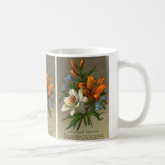 Vintage Birthday Greetings with Lily Flowers Coffee Mug