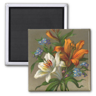 Vintage Birthday Greetings with Lily Flowers Magnet