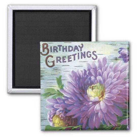 Vintage Birthday Magnet With Flowers