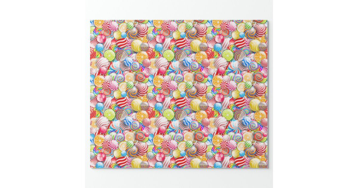 Vintage Birthday or Christmas Candy Wrapping Paper | Zazzle