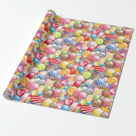 Vintage Birthday or Christmas Candy Wrapping Paper | Zazzle.com