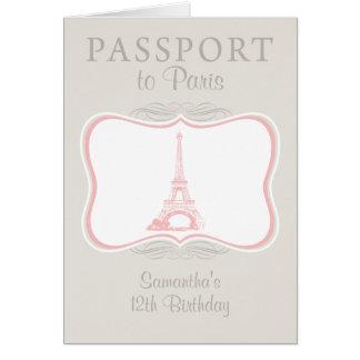 Vintage Birthday Paris Passport Invitation