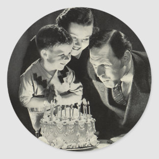 Vintage Birthday Party for Dad with Cake Classic Round Sticker