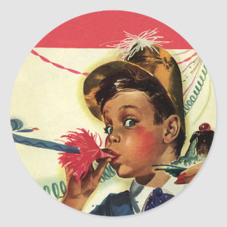 Vintage Birthday Party, Girl with Noise Maker Classic Round Sticker