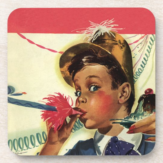 Vintage Birthday Party, Girl with Noise Maker Drink Coaster