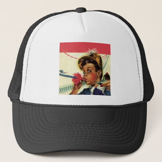 Vintage Birthday Party, Girl with Noise Maker Trucker Hat