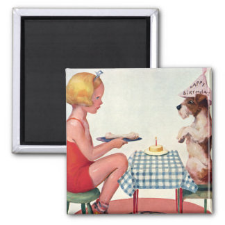 Vintage Birthday Party, Girl with Pet Puppy Dog Magnet