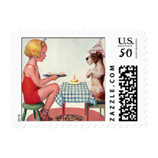 Vintage Birthday Party, Girl with Pet Puppy Dog Postage