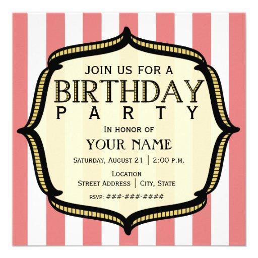 Vintage Birthday Party Invitations 90