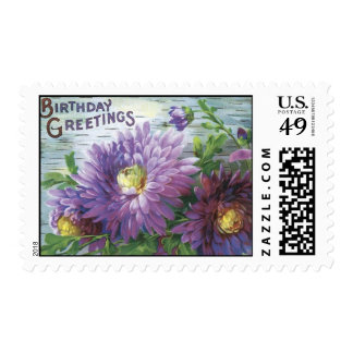 Vintage Birthday Postage With Flowers