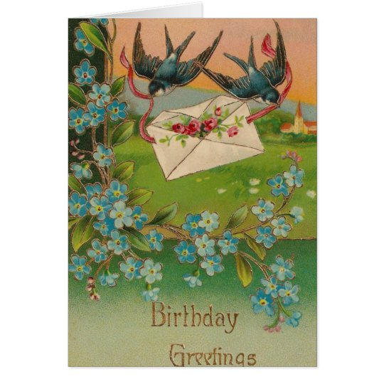 Vintage Birthday Postcard Birds and Flowers
