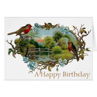 Vintage Birthday Robins and Forget-Me-Nots Card