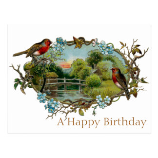 Vintage Birthday Robins and Forget-Me-Nots Postcard