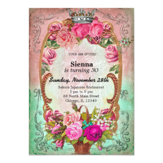 Vintage birthday style 5x7 paper invitation card