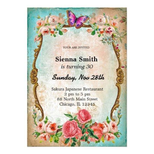 Vintage birthday style personalized invite