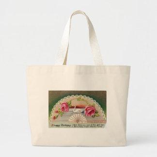 Vintage Birthday Swan Postcard Sent From Sister Large Tote Bag