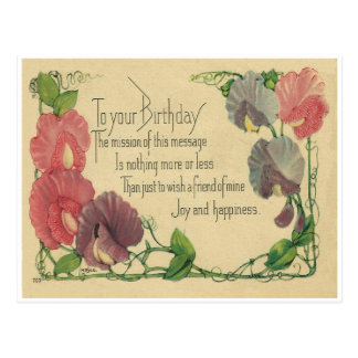Vintage Birthday Sweet Peas Postcard