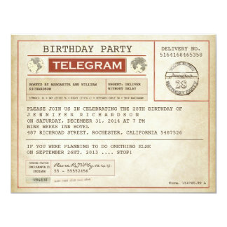 vintage birthday telegram invitation