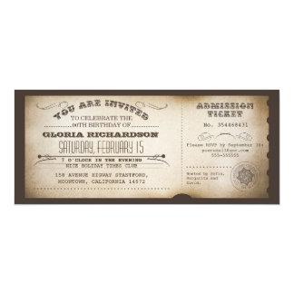 vintage birthday ticket typography design card