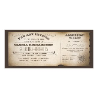 vintage birthday ticket typography design custom invitation