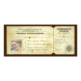 vintage birthday ticket with your photo personalized invitation