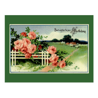"""Vintage Birthday Wishes"" Postcard"