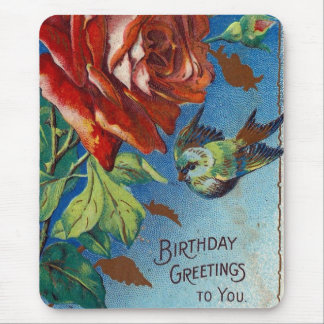 Vintage Birthday Wishes Rose and Bird Mouse Pad