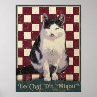 Vintage Bistro Cat Poster