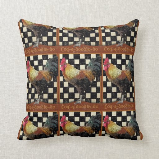 Vintage Bistro Rooster Pillows