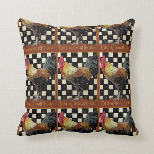 Vintage Bistro Rooster Throw Pillow
