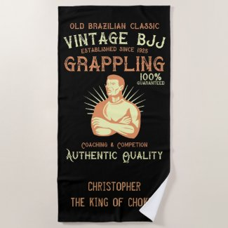 Vintage BJJ  Brazilian Jiu Jitsu  Add Your Name Beach Towel