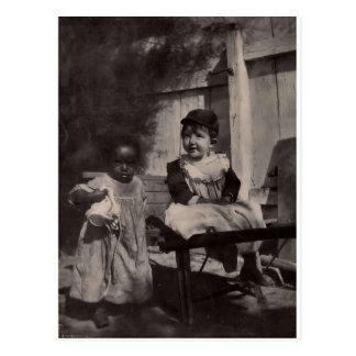 Vintage Black Americana - Black & White Cute Kids Postcard