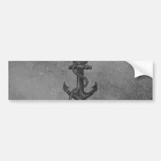 Vintage Black Anchor Pattern Bumper Sticker