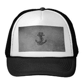 Vintage Black Anchor Pattern Mesh Hats