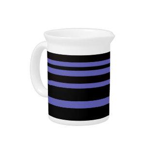 Vintage Black and Blue Pattern Stripes Pitcher
