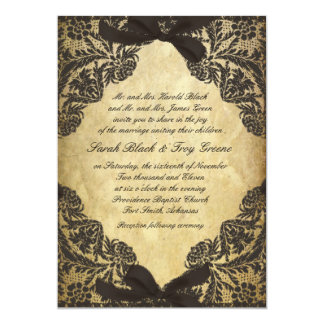 "Vintage Black and Cream Lace 5"" X 7"" Invitation Card"