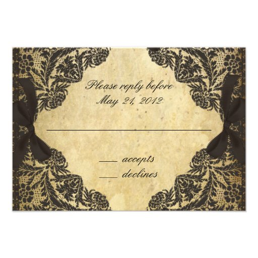 Vintage Black and Cream Lace - RSVP Personalized Announcement