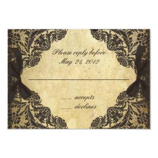 Vintage Black and Cream Lace - RSVP 3.5x5 Paper Invitation Card
