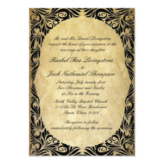 Vintage Black and Cream Wedding 5x7 Paper Invitation Card