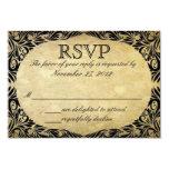 Vintage Black and Cream Wedding RSVP 3.5x5 Paper Invitation Card