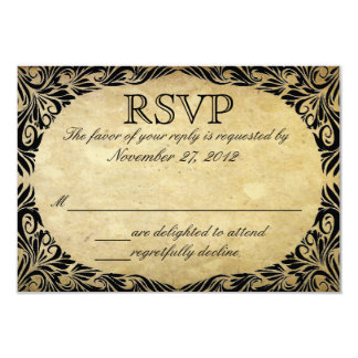 Vintage Black and Cream Wedding RSVP 3.5x5 Paper Invitation Card